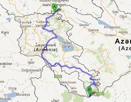 Unsere Route mit dem Rad durch Armenien