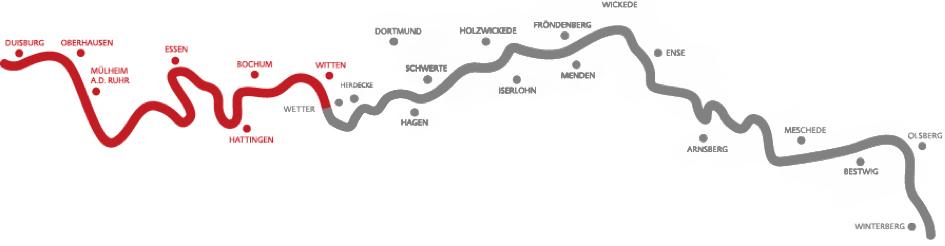 """Der Verlauf des RuhrtalRadwegs mit markiertem """"Guter-Rat-Weg"""". Foto: Knappschaft."""